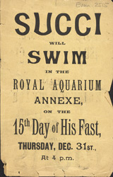 Advert for 'Succi' at the Royal Aquarium